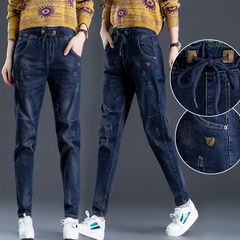 Korean version of the new autumn and winter plus Velvet Thin size elastic waist loose jeans trousers waist pants female cowboy Haren 29/2 ruler 2 Dark blue [single paragraph]