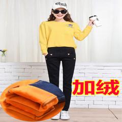 2017 - plus velvet jeans pants female slim new fall elastic waist jeans Slim Pencil. Thirty Cashmere 808 black