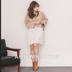 Winter 2017 new female Korean cultivating temperament all-match waist pleated skirt dress dress in backing tape F Short white