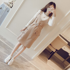 In the autumn of 2017 New South Korea Guoxian thin all-match single breasted two piece suspender skirt girls long dress temperament M Beige