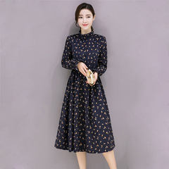 """Autumn and winter corduroy vintage floral floral dress small thick long sleeved in the long thin bottom dress children S No. 1 flower """"Tibet blue"""""""