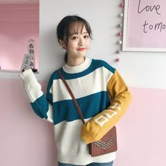 Spring and autumn and 2017 new Korean students BF all-match fringe small fresh loose sweater female winter ulzzang F Blue white stripes