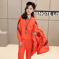Europe 2017 new Korean winter fashion casual couture show thin sweater western style three piece tide M Orange
