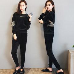 Gold velvet sports suit women autumn winter fashion trend 2017 new Korean version with velvet thickening sweater three piece winter suit XXL (131-145 Jin) black plus velvet two piece