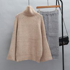 Harajuku net red sweater female winter fashion dress set loose turtleneck two piece lazy knit dress skirt S Khaki shirt + skirt