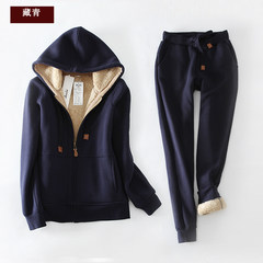 Sweater suit, autumn and winter plus velvet thickening sportswear, big code casual cap 2017 new fashion two piece XL (recommended 120-130 kg) Tibetan Navy