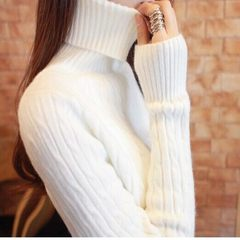 Turtleneck female short sleeve head slim tight take the white cashmere knitted shirt with thick winter lady M code (for 90-110 Jin) White (without NAP)