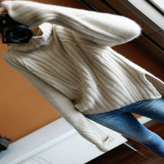 [heavy] new huge benefit thickened 100% pure cashmere turtleneck female Korean loose sweater languid S Beige