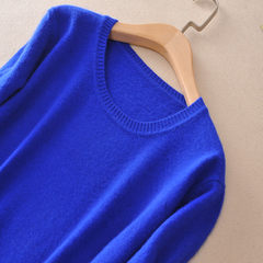 Autumn and winter sweater backing female V collar sleeve head loose Korean long sleeved sweater size solid low collar sweater 3XL Blue collar