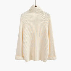 Turtleneck female Korean small fresh trumpet sleeves loose thick wool turtleneck lazy winter bottoming sweaters F Beige