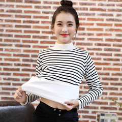 Autumn and winter with cashmere sweater female clothes all-match thickened small fresh black and white striped long sleeved knit shirt L code [107-115 Jin] white