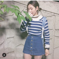 The autumn wind the New South Korean ulzzang Harajuku BF loose striped turtleneck sweater coat sleeve female students tide F Blue white stripes