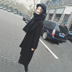 2017 winter wool coat, a long section of the Korean version of the new code of students loose knee black woolen coat XS Caramel color [upgraded edition thickening cotton]