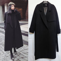 2017 knee wool coat new Korean women's autumn and winter in the long section of thick thin double faced woolen coat XS Black [cotton thickening]