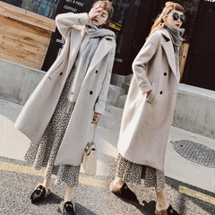 Wool coat 2017 in autumn and winter in the long section of the New South Korean cashmere woolen coat wind source of thickened female students XS Mixed camel - plus - the first batch of cotton a spot