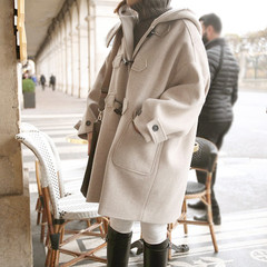 2017 new winter hooded wool coat of female students in Korea Institute of wind long horn button woolen coat XS [and] cotton Camel