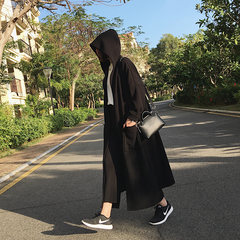 A7seven long hooded windbreaker jacket 2017 female autumn Korean knit Cape cardigan tide M black