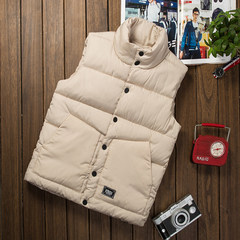 The new couple down cotton vest for men and Korean tide vest Collar Jacket Mens youth slim thickening 3XL Beige