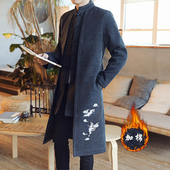 Chinese wind men's folk style costume Hanfu costume gown jacket thick padded young Chinese winter 3XL [8088]: black woolen cloud crane
