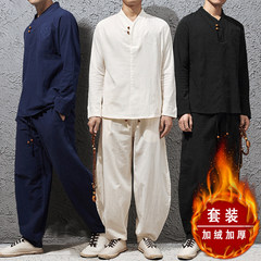 This Linen Tea clothing lay clothes costume costume Hanfu China Mens Suit modified National Youth autumn wind 3XL [TZ05: Cashmere thickening] white rice