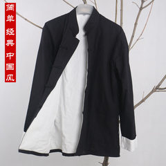 Chinese wind Man Costume cotton long sleeved jacket of Chinese clothing and cloth of old male Han gown lay clothes 165/39 Classic black