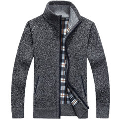 Special offer every day men's autumn Zip Sweater with velvet collar cardigan sweater coat loose warm male 3XL Dark grey