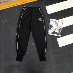 Hong Kong Chinese wind wind street casual pants trendsetter Bodhi embroidery men and women hip-hop ankle banded pants pants feet S black
