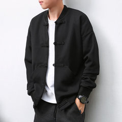 MRLIN original China Mens Baseball Jacket collar Chinese wind, autumn men's Retro male Tangzhuang overcoat 3XL (180-195 Jin) black