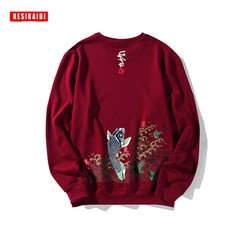 The autumn winter new tide brand Japanese T-shirt sweater China wind men without cap and loose turtleneck XL thick velvet 3XL Carp wine red