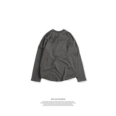 GRKC 2017SS tide brand, century printing long sleeves, China has the hip-hop tide, men and women lovers BF wind T-shirt S gray