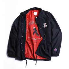 Hidden in the city /clamisgold Chinese wind and good embroidery coach jacket, men and women lovers jacket tide S Black spot
