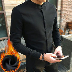 Chinese style wind down shirt with long sleeves and long sleeves 3XL (about 145-150 pounds) Black velvet