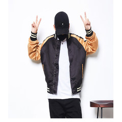 Spring and autumn dress, wing embroidery, baseball costume, male Korean version BF, Chinese wind flying couple jacket, leisure thin coat, female tide S black