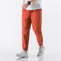 Mr. kylin self-made men's fashion cotton pants feet Haren Chinese linen slacks pants upon the wind 3XL Red brick