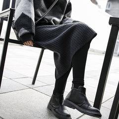 JHXC autumn and winter high waisted pleated skirt knitted grey split girls long size bag hip skirt step skirt F Dark grey