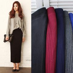 Korean version of the new autumn and winter skirt stretch cotton knit dress wool split bag hip skirt step skirt dress female F black