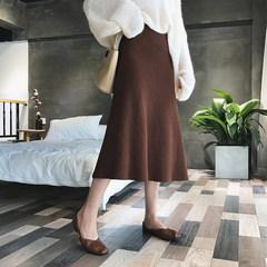 A7seven retro knitted skirt female 2017 autumn Korean thin solid high waisted A-line A skirt F black