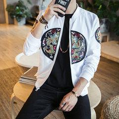 Autumn wind Chinese retro robes embroidered jackets for men fat XL Korean men's coat slim trend 3XL JK02 white
