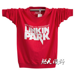 Chinese wind cotton long sleeve T-shirt, men add fertilizer, XL, autumn clothes, shirt, youth t-shirt, clothes, men's clothing 3XL Letter red