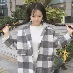 Autumn ladies Korean retro casual Plaid wool coat lapel loose short thick woolen coat students F gray
