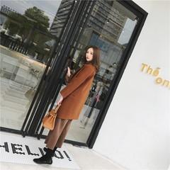 Ulzzang wool coat long winter female South Korean students short thick cocoon type wool coat Harajuku S Caramel color