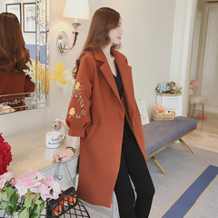 The new autumn and winter waist embroidery cloth coat girls long slim Korean Lantern Sleeve woolen coat coat S Reddish brown