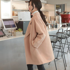Autumn and winter of Korean students in the long section of loose woolen coat thick Korean small cocoon type wool coat female S Lotus apricot