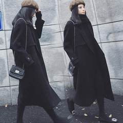 2017 autumn and winter new Korean woolen coat girls long skinny knee thick coat students S Black cotton thickening