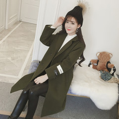 2017 Korean winter new Korean students all-match Harajuku girls thickened wool tweed coat long woolen coat M code (for 95 to 115 Jin) Army green