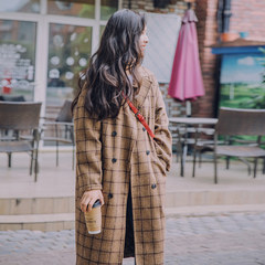 Women wear woolen coat in the long section of Korean female and 2017 new students retro Plaid wool tweed coat thickening XS Camel