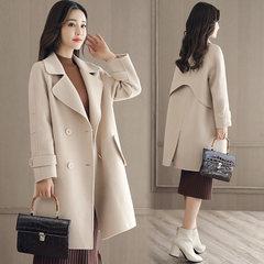 Wool coat girls long 2017 new winter's double breasted wool coat woolen coat Korean tide S Beige