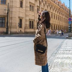 South Korea Plaid Wool Coat girls long winter 2017 Vintage suit collar thick woolen coat students tide S Brown coffee