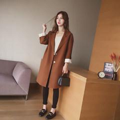 Small grains 9a11c 2017 loose wool coat ulzzang female little in the long woolen coat S Caramel color