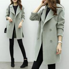 2017 new winter long wool coat in Korean women in the green cocoon woolen coat loose thin tide S Pea green